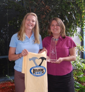 Heidi and Lucy with Builders care tshirt-Promotional Incentives celebrates 30 years in business-cape coral florida-300x323