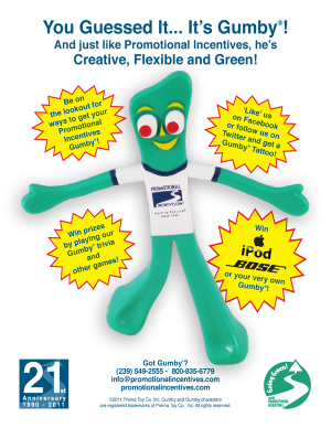 PromoGumby introduction for 21st anniversary flyer-Promotional Incentives