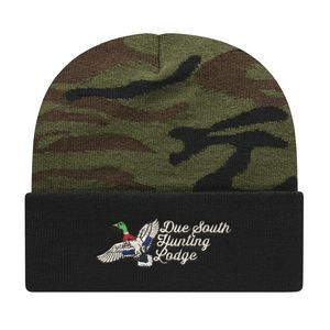 Woodland Camo Knit Cap with Cuff