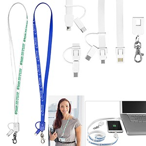 """Layton"" 3-in-1 Lanyard Cell Phone Charging Cable w/Type-C Adapter"