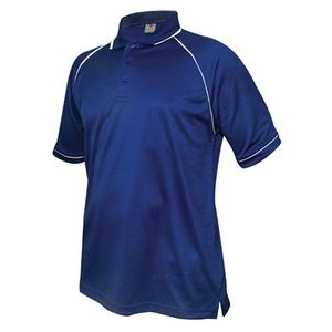 Men's Tipped Performance Polo Shirt (Royal Blue/White)