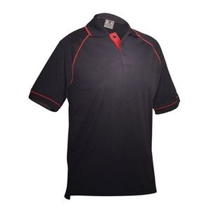 Men's Tipped Performance Polo Shirt (Black/Red)
