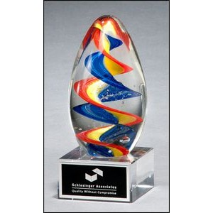 Colorful egg-shaped art glass award with clear base