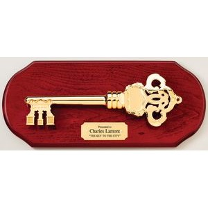 "The ""Key To The City"" Cherry Finish Plaque w/Cast Gold Key"