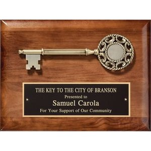 "Walnut Satin Finish Plaque with Cast ""Key To City"" and Black Plate, 9""x12"""