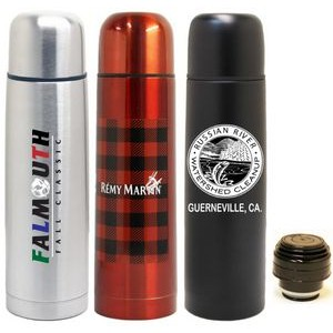 16 Oz. Slim Vacuum Bullet Bottle, Black or Red Coated