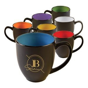 Two Tone Matte 15 oz. Bistro Mug with large curved handle