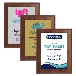 "6"" x 8"" Cherry Finish Plaque w/ Full Color Sublimated Imprint"