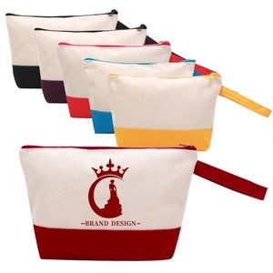 Cotton Canvas Two-Tone Cosmetic Bag